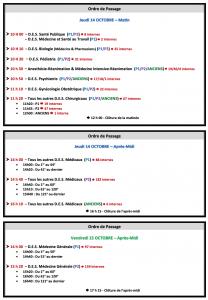 Calendrier du semestre de Novembre 2021